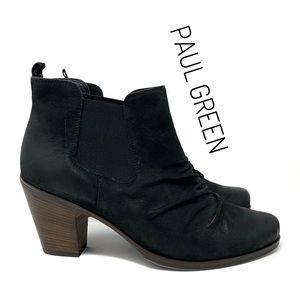 Paul Green Leather Nubuck Black Ankle Boots